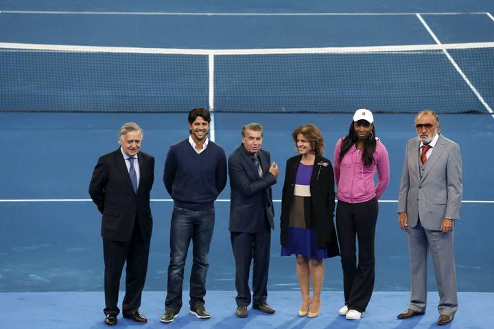 Fernando Verdasco, segundo por la izquierda, en la presentación del Madrid Open