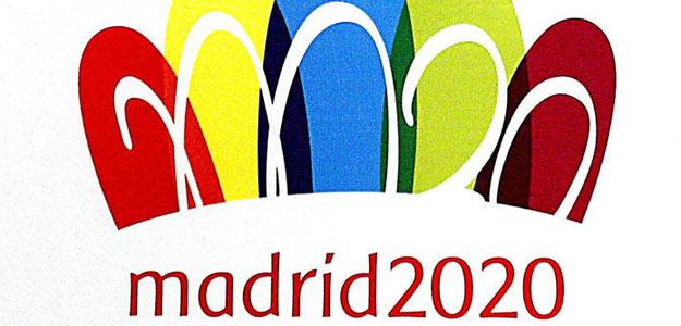 """Logotipo de la candidatura de Madrid para albergar los Juegos de 2020, inspirado en la Puerta de Alcalá con una """"M"""" sobre los arcos de ésta junto al número 20."""