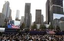 U.S. President Obama delivers remarks as first lady Michelle, former President W. Bush and former first lady Laura look on during ceremonies marking the 10th anniversary of the 9/11 attacks on the World Trade Center, in New York