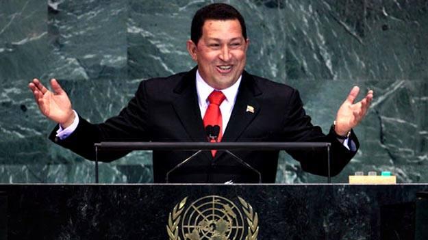 El presidente venezolano Hugo Chávez durante un discurso ante la Asamblea de la ONU