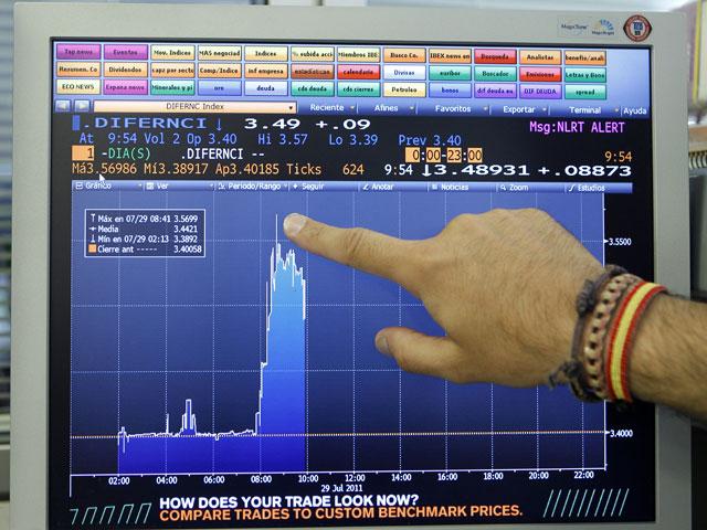 La prima de riesgo española alcanza su máximo histórico y las Bolsas europeas caen