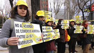 Ver vídeo  'Protestas de las organizaciones agrarias españolas por el acuerdo entre la Unión Europea y Marruecos'
