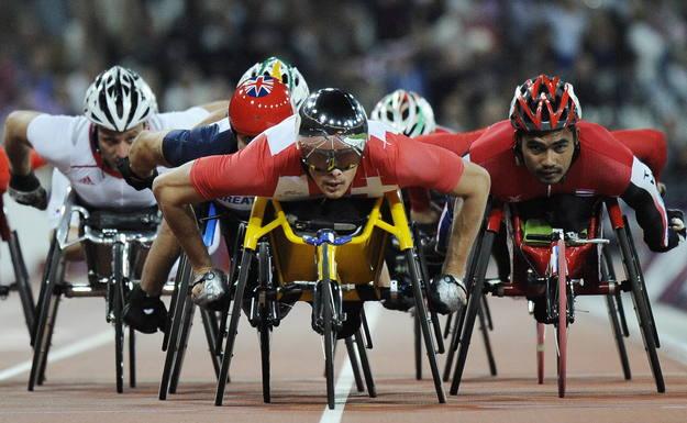 Imagen de la prueba masculina de atletismo de los 5000 metros en los Juegos Paralímpicos de Londres (Reino Unido).