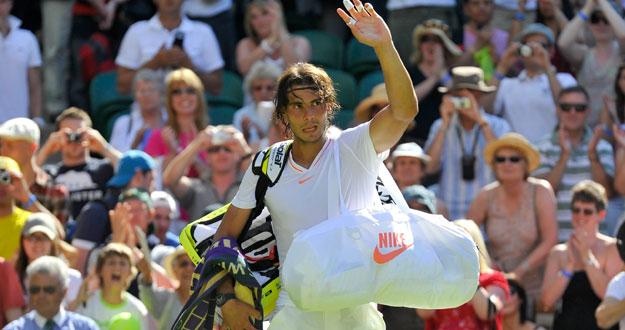Rafa Nadal tras derrotar al japonés Nishikori en la primera ronda de Wimbledon