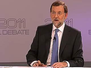 """Ver vídeo  'Rajoy a Rubalcaba: """"Déjeme hablar, si no le va tan mal el debate""""'"""