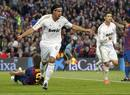 Real Madrid's Khedira celebrates after scoring against Barcelona during their Spanish first division soccer match in Barcelona