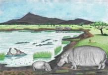 Recreación del lago de la Hoya de Baza con hipopótamos bañándose.