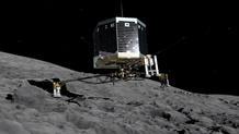 Recreación del momento en el que se prevé que Philae se pose sobre el cometa 67P.