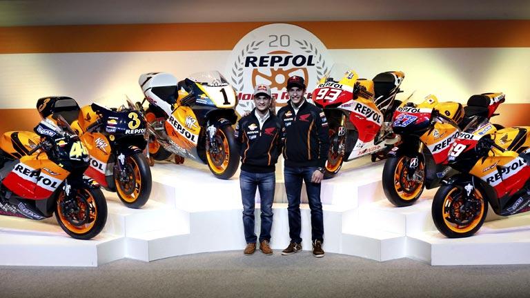 Repsol y Honda celebran su vigésimo aniversario con sus campeones