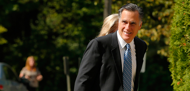 Republican presidential candidate and former Massachusetts Governor Mitt Romney arrives for services at The Church of Jesus Christ of Latter-Day Saints in Wolfboro