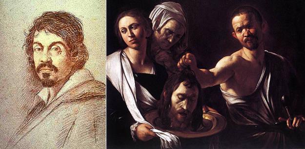 Retrato de Caravaggio, de Ottavio Leoni. Y uno de sus cuadros más conocidos, 'Salomé con cabeza de San Juan Bautista' (Autorretrato)