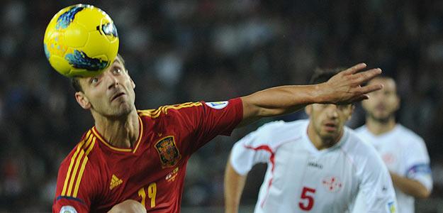 Roberto Soldado, en un momento del partido de la selección española ante Georgia.