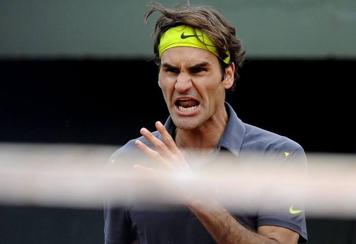 Roger Federer gritando en el partido ante Del Potro