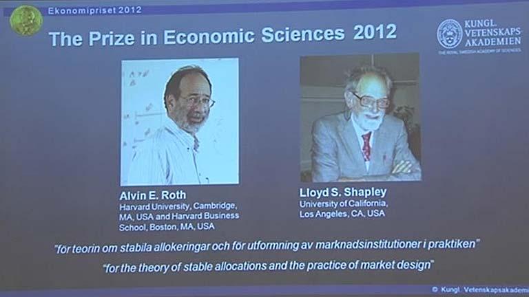 Los estadounidenses Roth y Shapley, premiados con el Nobel de Economía 2012