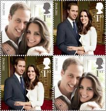 El Royal Mail (correos británicos) va a celebrar la boda del príncipe Guillermo de Inglaterra y Kate Middleton con la emisión de estos sellos postales especiales, que serán emitidos este 21 de abril, ocho días antes del enlace y día del cumpleaños de