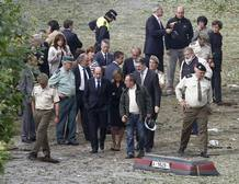 Rubalcaba y Chacón en el lugar del atentado