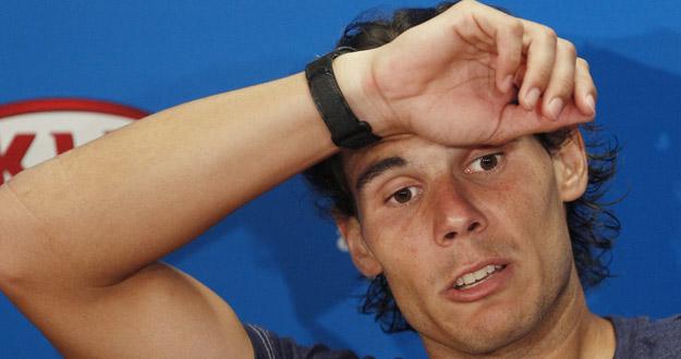 El español Rafa Nadal comparece en una rueda de prensa tras un partido en el Open de Australia.