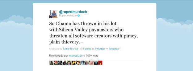 El tuit en el que Rupert Murdoch arremete contra Obama por las críticas de la Casa Blanca a la ley SOPA