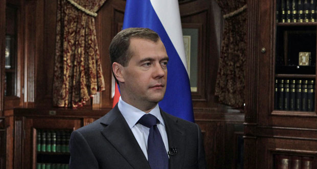 El presidente ruso, Dimitri Medvédev, durante su discurso televisado.