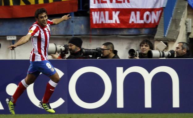 Salvio, autor de dos goles para el Atletico Madrid contra el Beksitas en el partido de ida de octavos de final de la Europa League