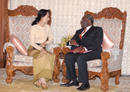 Aung San Suu Kyi meets with visiting U.N. special envoy Ibrahim Gambari at the State Guesthouse in Yangon