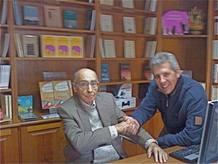 Saramago y Pedro Soler durante la entrevista