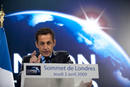 France's President Sarkozy delivers a speech at the end of the G20 summit in east London
