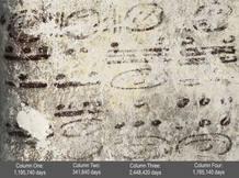 Durante la investigación se descubrieron multitud de glifos pequeños por toda la pared, barras y puntos