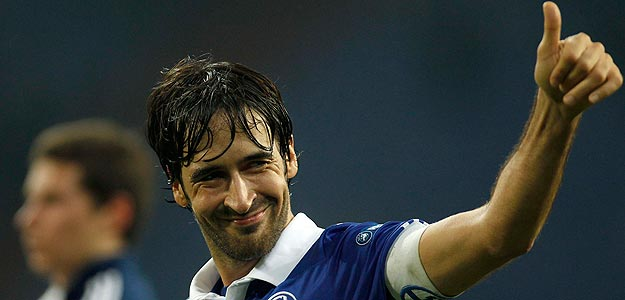 Schalke 04's Raul celebrates victory against Steaua Bucharest during the Europa League Group J soccer match in Gelsenkirchen