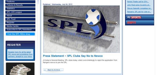 La Scottish Premier informa del rechazo a la petición del Rangers de ser incluido en la Liga
