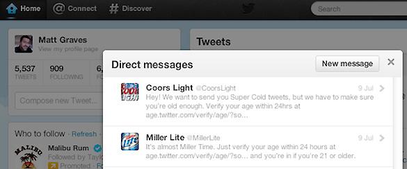 En la imagen aparece uno de los mensajes que van a recibir los usuarios de Twitter para evitar que menores accedan a perfiles no adecuados