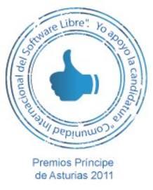 Sello de la candidatura de apoyo al Software Libre para el Premio Príncipe de Asturias de Cooperación Internacional 2011