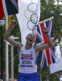 Russia's Sergey Kirdyapkin celebrates winning men's 50km race walk at London 2012 Olympic Games