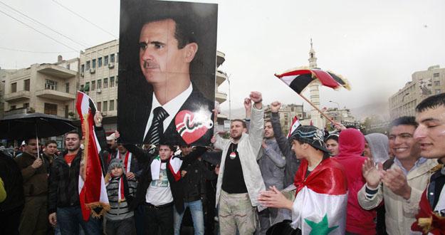 Simpatizantes del régimen de Bachar al Asad durante una manifestación este miércoles
