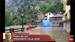 """Ver vídeo  'Sindic del Vall d'Aran: """"Los embalses de alta montaña están desbordando todos por la coronación""""'"""