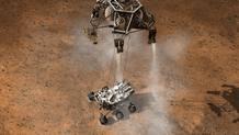 La 'Sky Crane' bajando a Curiosity