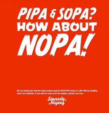 """La web principal de Mojang, la empresa sueca desarrolladora del popular videojuego Minecraft, recrea un juego de palabras en inglés en el que atacan la ley antipiratería de EE.UU. """"PIPA y SOPA, ¿qué tal un NOPA?"""""""