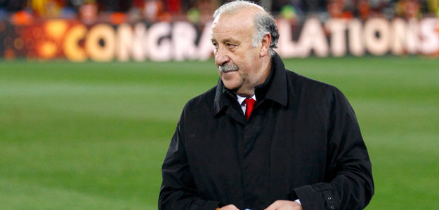 Spain's coach Vicente del Bosque stands on the pitch after their 2010 World Cup final soccer match against Netherlands at Soccer City stadium