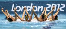 Spain's team perform in the synchronised swimming teams technical routine competition during the London 2012 Olympic Games at the Aquatics Centre