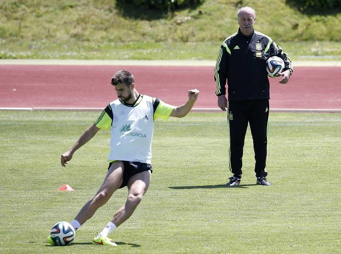 Spanish national soccer coach del Bosque looks on as Pique kicks the ball during a training session of the national soccer team at Las Rozas playground near Madrid