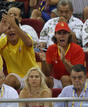Spanish tennis player Nadal reacts while watching men's basketball game between Spain and Greece at Beijing 2008 Olympic Games