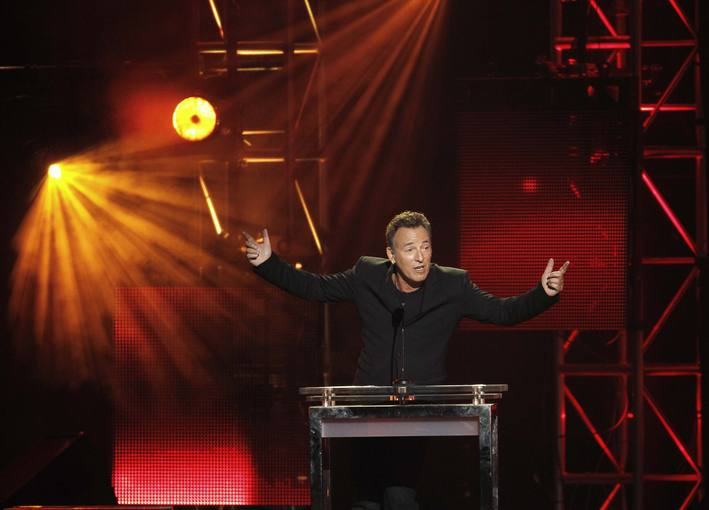 Springsteen speaks after accepting the 2013 MusiCares Person of the Year award at a gala in Los Angeles