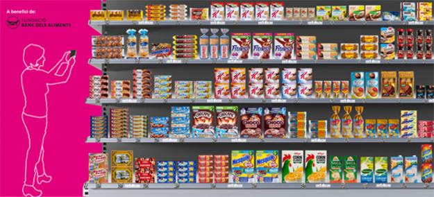 La estantería virtual tiene el mismo aspecto que las de los supermercados convencionales.