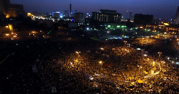 La plaza Tahrir, tras un día de masivas protestas en El Cairo.