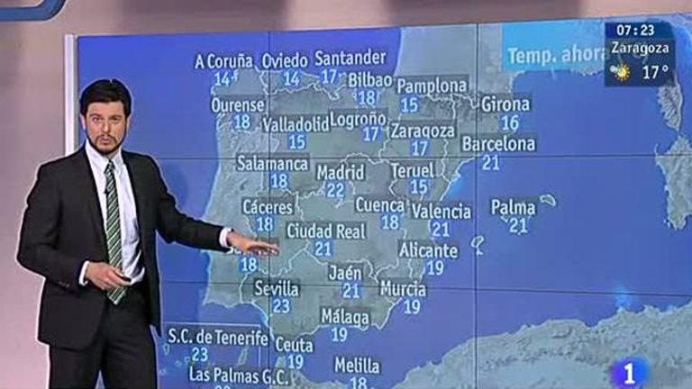 Temperaturas elevadas en toda la Península y tormentas en zonas de montaña