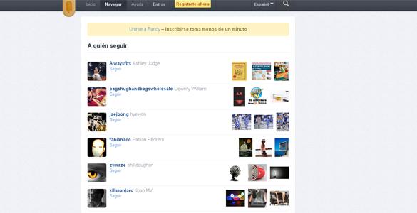 Captura de pantalla de la red social y web de compras 'The Fancy'