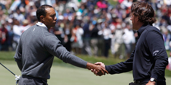 Tiger Woods y Phil Mickelson durante la primera jornada en San Francisco.cisco,
