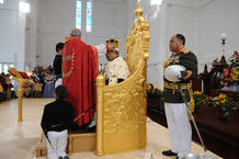 Archbishop of Polynesia Jabez Bryce crowns Tonga's King George Tupou V in the nation's capital city Nuku'alofa