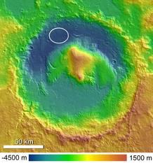El cráter Gale y la zona de aterrizaje de Curiosity en su parte noroeste (cc Ryan Anderson)