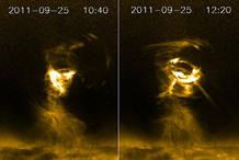 Alguna de las capturas del tornado solar recogido por el satélite de la NASA